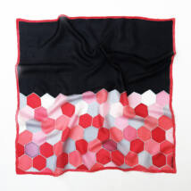 Hexa fekete pink piros selyemkendő