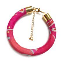 Pálma piros-pink selyemkarkötő
