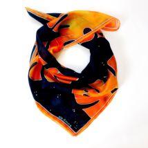 Pálma éjkék-lángoló narancs selyemkendő