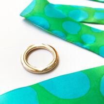 Skinny kaméleon vékony selyemszalag türkiz-zöld