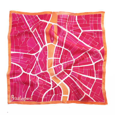 Budapest narancs-pink selyemkendő