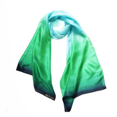 Colorfull karibikék-élénkzöld selyemsál