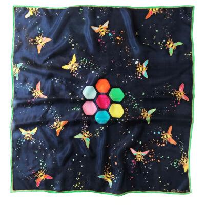Hexa sötétkék-színes méhecskés selyemkendő