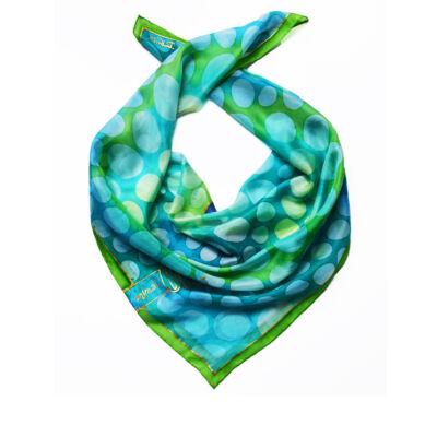 Kaméleon nagyméretű türkiz selyemkendő