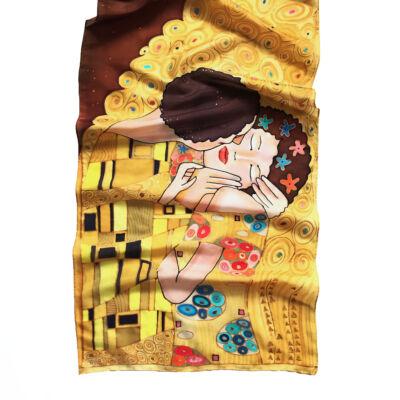 Klimt a Csók arany-barna selyemsál