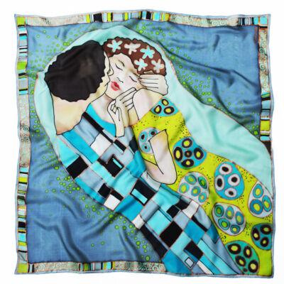 Klimt a Csók selyemkendő