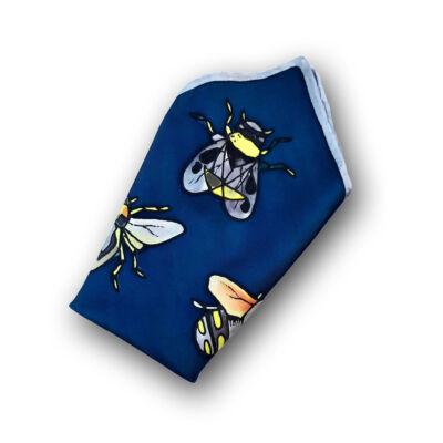 Sötétkék bogaras díszzsebkendő