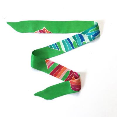Skinny Mix&Match vékony selyemszalag élénkzöld-színes