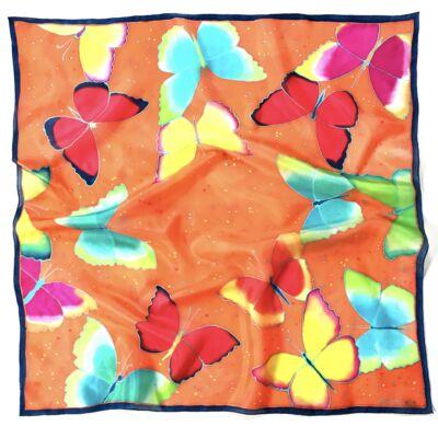 Színes pillangók narancs háttérrel