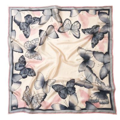 Barackrózsaszín pillangós nagy selyemkendő