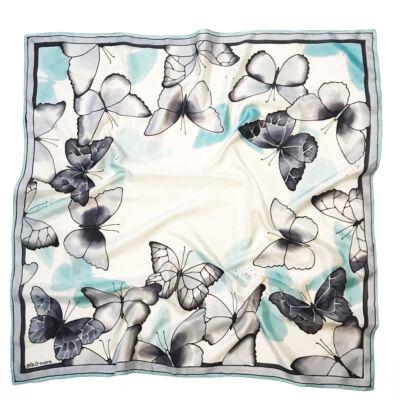 Babakék szürke pillangós nagy selyemkendő