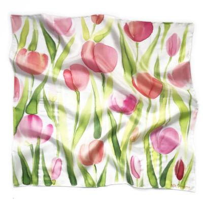 Tulipános tavaszi kendő
