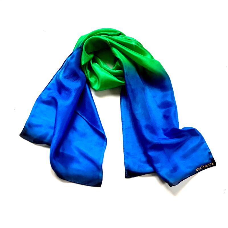 Colorfull királykék-élénkzöld selyemsál