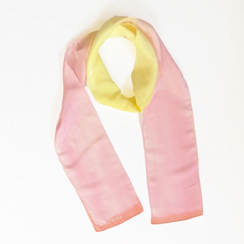Colorfull pasztell rózsaszín-sárga vékony selyemsál