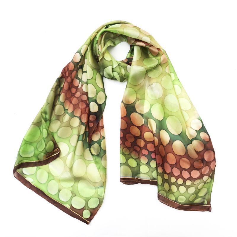 Kaméleon olajzöld-barna selyemsál