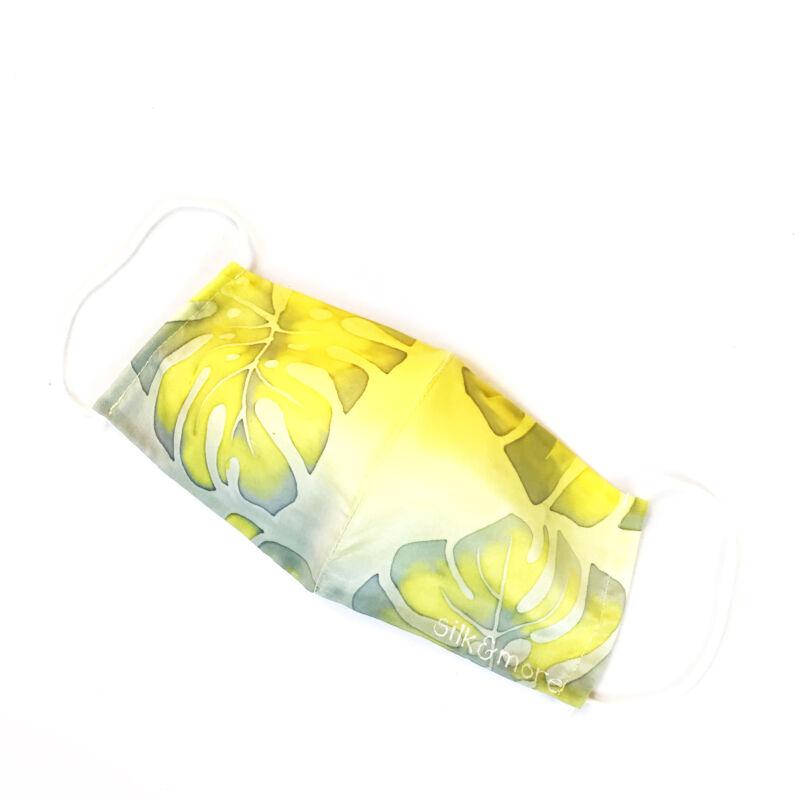 Selyemmaszk sárga-szürke pálmaleveles