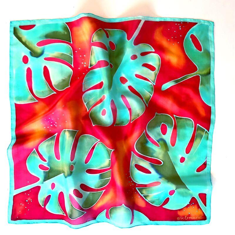 Pálma vörös karibikék selyemkendő