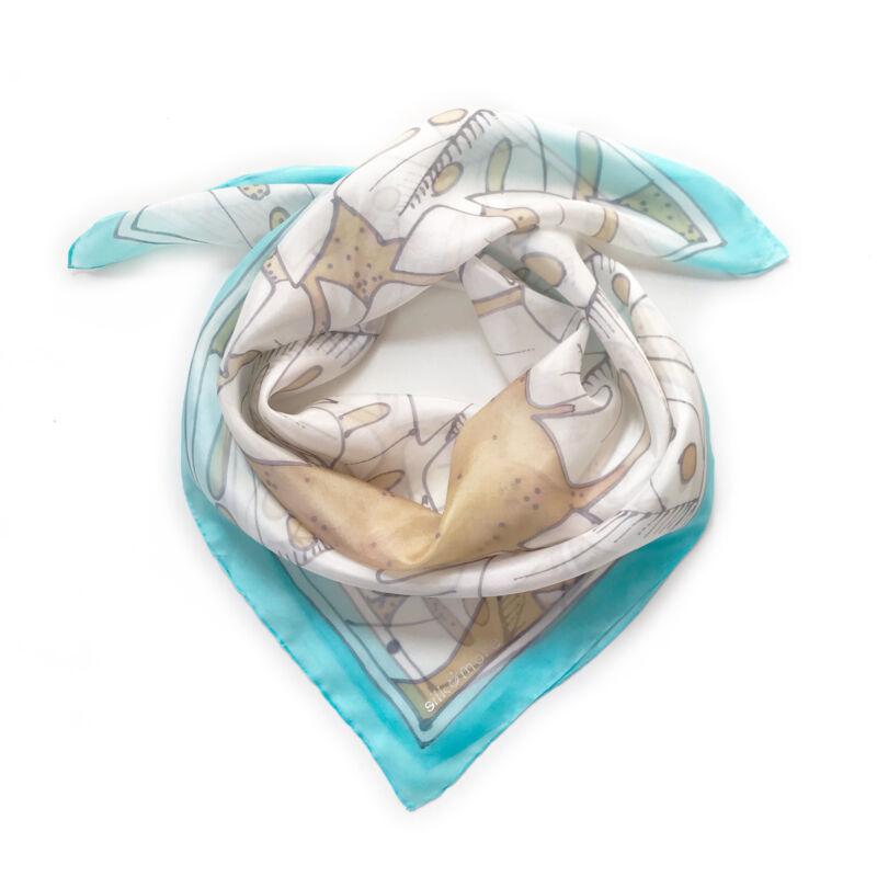 Pálma karibikék-fehér selyemkendő