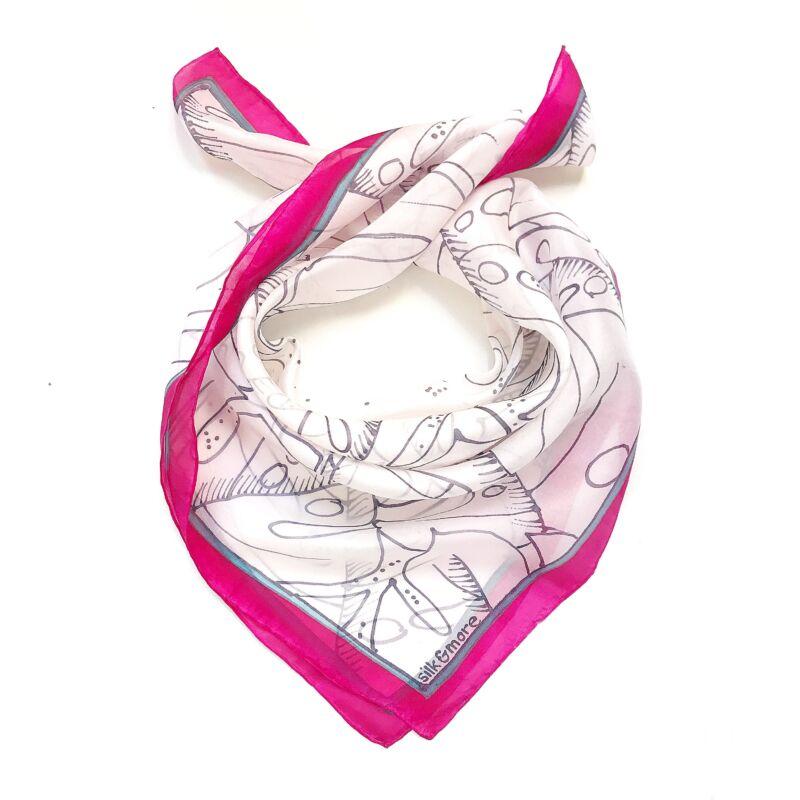 Pálma pink-fehér selyemkendő