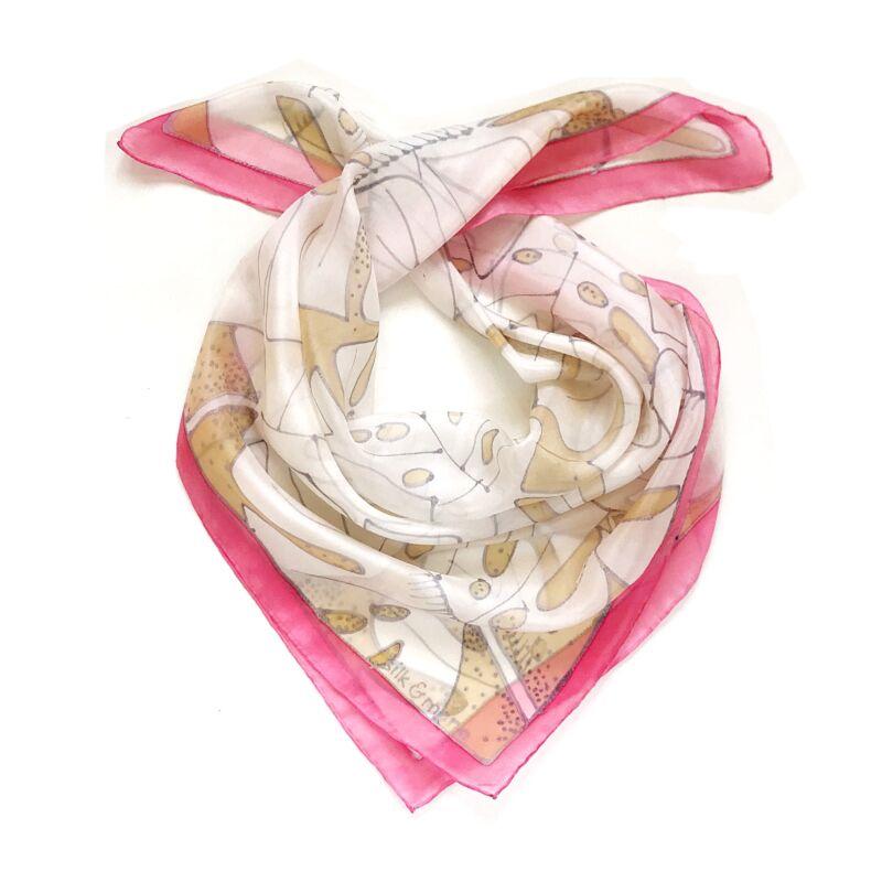 Pálma rózsaszín-bézs selyemkendő