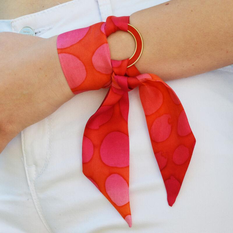 Skinny kaméleon vékony selyemszalag pink-piros