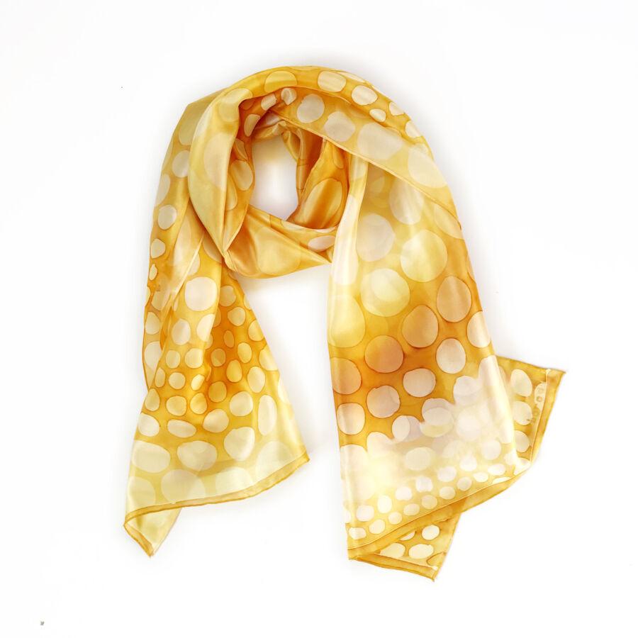 Kaméleon mustár-világosbarna selyemsál